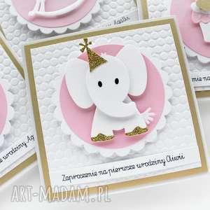 hand-made zaproszenie zaproszenie na urodziny - słonik