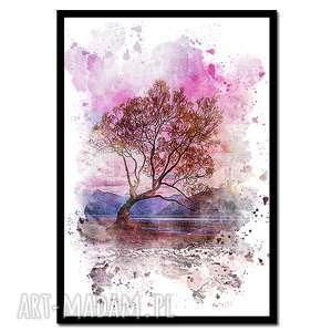 obraz w ramie drzewo 4r - 73x52cm drukowany na płótnie minimalizm, obraz
