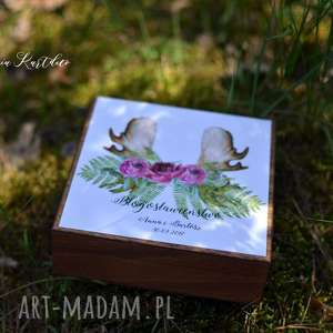 zaproszenia zaproszenie - błogosławieństwo w drewnianym pudełku