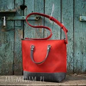 Prezent Ręcznie robiona skórzana torebka czerwono-szaro, skórzane torby,