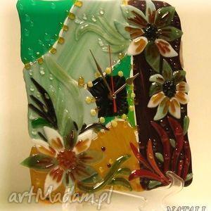 artystyczna kompozycja ze szkła - zegar paczwork, szklo, zegary, kwiaty, dom