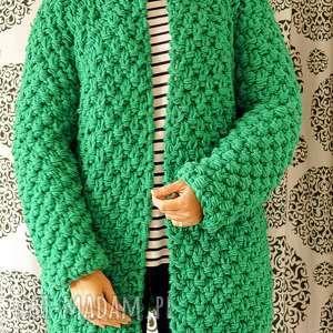 Green-grassy chunky swetry mondu sweter, gruby, trawiasty