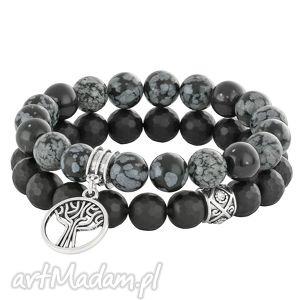carbon 3 - black & grey - srebrne bransoletki, zawieszka, cyrkonie, koralik