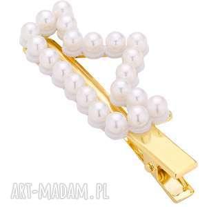 spinka korona z białymi perłami, spinka, wsuwka, perły, korona, włosy, upięcie