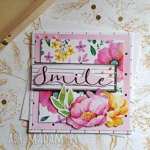 Kartka smile scrapbooking kartki maly koziolek kartka, kwiaty