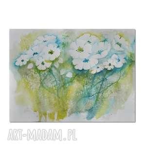 łąkowa impresja, akwarela, kwiaty, łąka, obraz, ręcznie, malowany