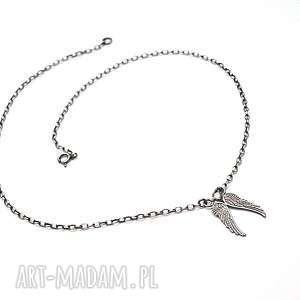 Angel vol. 4 - naszyjnik , srebro, oksydowane, skrzydła, angel, cyrkonia