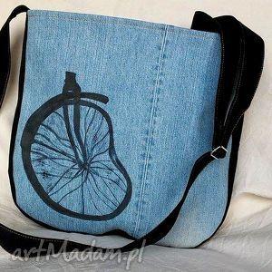 gabiell torba jeansowa z kołem od roweru, torba, jeans, bawełna, koło, rower