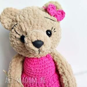 Pluszowa panna Misia w jaskrawo różowej sukience 30 cm - Ręcznie wykonane