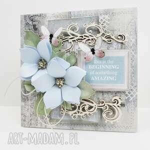 niebieska kartka w pudełku ślub, rocznica, urodziny imieniny, walentynka