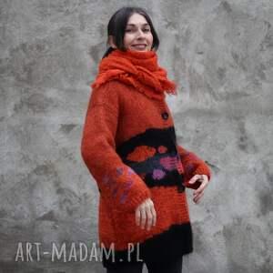sweter rudo czarny, wełna, rękodzieło, unikat, dla niej, prezent, sweter