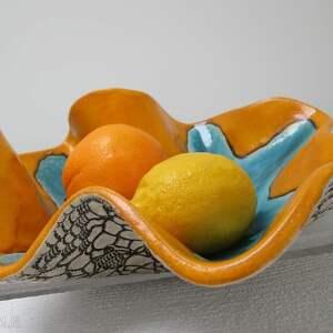 artystyczna wywijana misa, ceramiczna, miska, koronkowa, duża, artystyczna, kolorowa