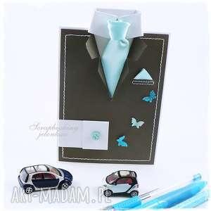 garnitur męski - kartka dla niego - garnitur, krawat, motyle, mężczyzna