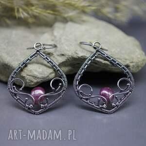 kolczyki wire wrapping z rubinami fionwe, srebrne kolczyki, wrapping
