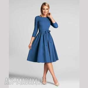 sukienka marie 3/4 midi niebieski, midi, z paskiem