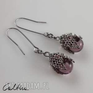 liliowe w siateczce - kolczyki #, wiszące, krople, klipsy, szklane, łezki