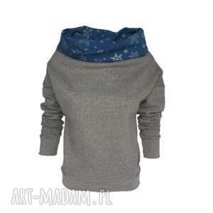 Bluza szary melanż srebrne gwiazdki, srebrne-gwiazdki, szara-bluza, bluza-w-gwiazdki