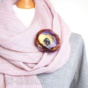Prezent Elegancka broszka KWIATEK wykonana ręcznie z tkaniny, broszka, kwiatek, kwiat