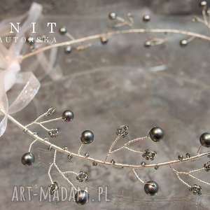 ozdoby do włosów ślubna opaska, ślub, perły, ozdoba, świąteczne prezenty
