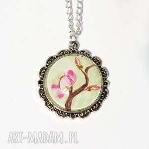 naszyjnik, medalion - kwitnąca wiśnia japoński, medalion, kwiat