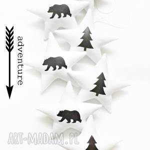 adventure - girlanda, strzałka, niedźwiedź, gwiazdki