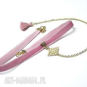 Choker - pink /smycz/, choker, aksamitlka, metal, chwost