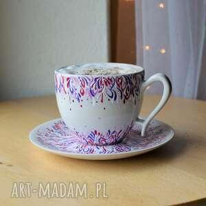filiżanka ceramiczna malowana lila róż, filiżanka, ceramika