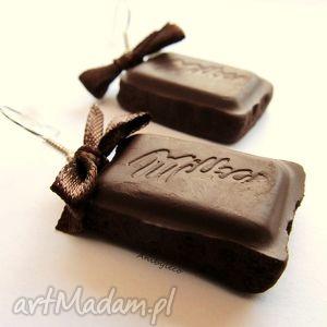 hand-made kolczyki kolczyki słodkie mleczne czekoladki