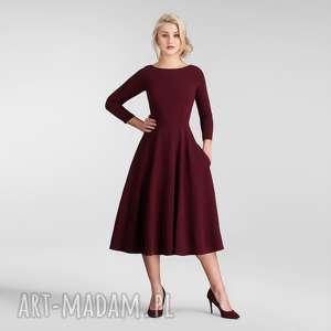 sukienki sukienka klara 3/4 total midi bordo, sukienka, midi, bordowa