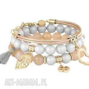 tassel - nude & light grey - szare bransoletki, perła, swarovski chwost