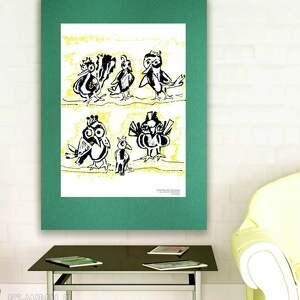Plakat z ptakami, grafika ptaszkami, obrazek do pokoju dziewczynki, plakat