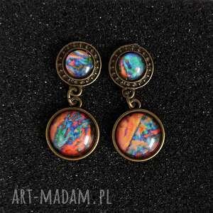 kolczyki - kolorowe antyczny brąz, kolczyki, abstrakcja, szklane, retro