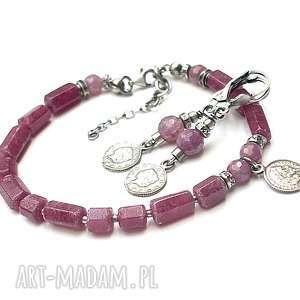 Rubinowe numizmaty - bransoletka, srebro, oksydowane, rubiny