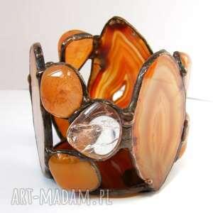 świeczniki nastrojowy świecznik brązowy agat, witrażowy