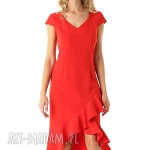 sukienki sukienka z dłuższym tyłem naomi czerwona, elegancka sukienka, koktajlowa