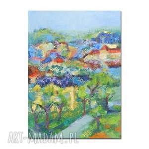 Ręcznie malowany obraz olejny na płótnie, miejski pejzaż obraz, nowoczesny