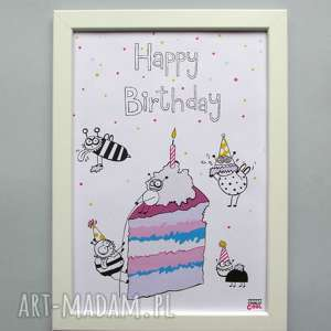 Prezent Happy Birthday grafika z serii YUMMY , obrazek, urodziny, prezent,