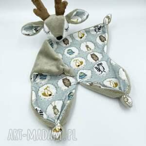 przytulanka jeleń dla niemowląt, kocyk, gryzak, sensoryczna, minky, szmatka