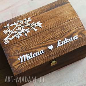 Kufer na koperty ślubne z gałązką, pudełko, koperty, kufer, ślub, eko,