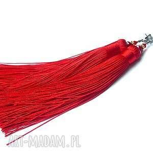 MAXI BOHO /red / - kolczyki , srebro, oksydowane, pozłacane, chwosty, boho