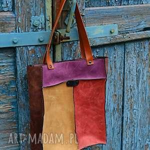 kolorowy worek skórzany, na ramię, kolorowa torebka, skórzana torba