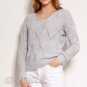 ażurowa bluzka - swe144 szary, bluzka, sweter na wiosnę, ażurowy