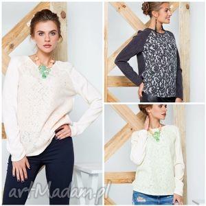 welniana bluzka z azurowym zdobieniem, swetry, modny, ciepły, damski ubrania