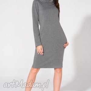 Sukienka z kominem, T147, szara, sukienka, dzianina, bawełna, komin, kieszenie