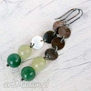 kolczyki srebrne z jadeitami b813 - kolczyki, wiszące, długie, srebrne