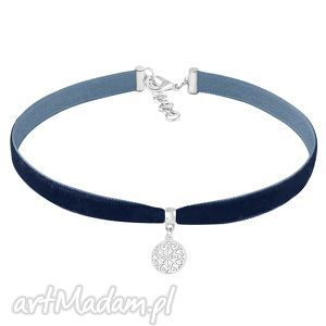 choker - navy blue velvet - rozeta, kółko, zawieszka, aksamit, choker, velvet