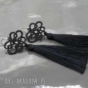 Długie czarne kolczyki chwostami Boho, frywolitka, kolczyki, koronka, długie, chwosty