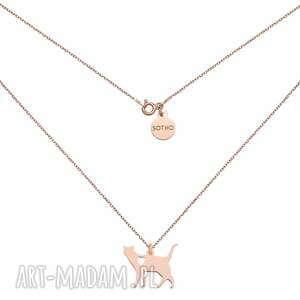 naszyjnik w różowym złocie kot z serduszkiem - łańcuszek