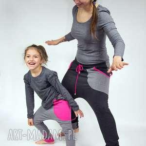 spodnie duet - mama i dziecko grafit róż, dres, dresowe, zestaw, komplet, bawełna