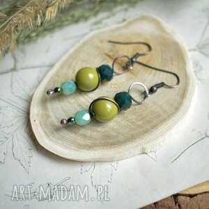 w zieleni - kolczyki kolorowe, kryształki, długie